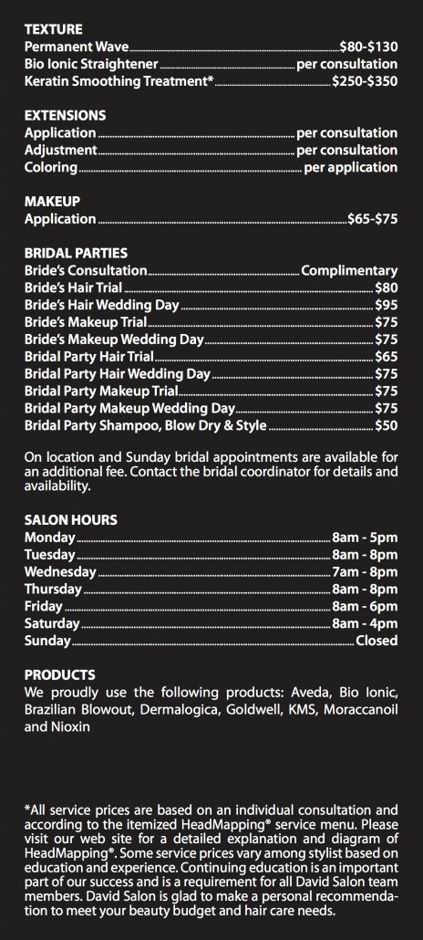 David salon menu of services hair salon salon for About salon services